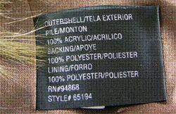 No label on garment with animal fur