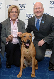 Rep. Ileana Ros-Lehtinen with her dog and HSLF President Michael Markarian