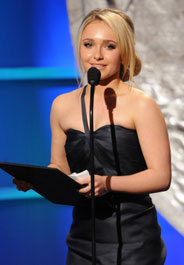 Hayden Panettiere accepts the Wyler Award at the Genesis Awards